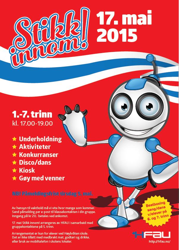 Invitasjonsflyer for Stikk innom! den 17. mai 2015